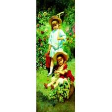 Poster - Bahçede Oynayan Çocuklar 35 x 100 cm